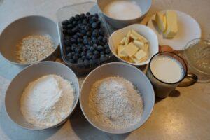 Skladniki - muffiny z borówkami